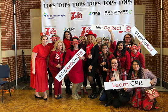 CHI Saint Joseph Health team members wear red and celebrate Go Red for Women.